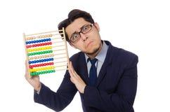 Lustiger Geschäftsmann mit dem Abakus lokalisiert auf Lizenzfreie Stockfotos