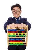 Lustiger Geschäftsmann mit dem Abakus lokalisiert auf Lizenzfreies Stockfoto