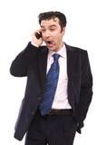 Lustiger Geschäftsmann am Telefon stockbilder