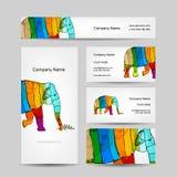 Lustiger gestreifter Elefant Visitenkarte für Ihr Lizenzfreies Stockbild