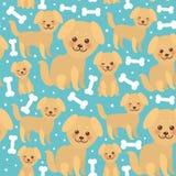 Lustiger goldener beige Hund des nahtlosen Musters und weiße Knochen, Kawaii stellen mit großen Augen und rosa Backen, Junge und  Lizenzfreies Stockfoto