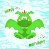 Lustiger grüner Drache Grußkarte mit Geburtstag T-Shirt Design für Kinder Das Design des Babys kleidet Vektorillustration Lizenzfreies Stockfoto