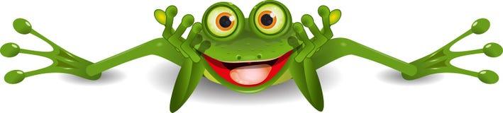 Lustiger Frosch ist auf seinem Magen Stockfoto