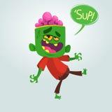Lustiger grüner Zombie der Karikatur mit Großkopf Auch im corel abgehobenen Betrag Lizenzfreies Stockbild