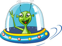 Lustiger grüner Extraterrestrial im Raumschiff Stockfoto