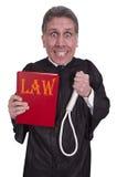 Lustiger hängender Richter, Gesetz, Ordnung, Gerechtigkeit, getrennt Lizenzfreies Stockbild
