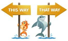 Lustiger Haifisch und Goldfisch nahe dem Wegweiser auf diese Weise und dieses wa Lizenzfreies Stockbild