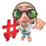 lustiger Hippie-Entkernercharakter der Karikatur 3d, der ein Haschtagsymbol hält Stockbilder