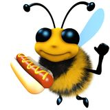 lustiger Honig-Bienencharakter der Karikatur 3d, der ein Hotdogsnack-food hält Stockfotos