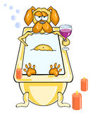 Lustiger Hund der Karikatur nimmt ein Bad durch Kerzenlicht und ein Glas Wein Stockfoto