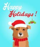 Lustiger Hund mit Weihnachtshut in der flachen Art Frohe Feiertage Postkartendesign Lustiger Hund Stockfoto