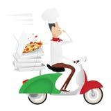 Lustiger italienischer Chef, der Pizza auf einem Moped liefert Stockfotos