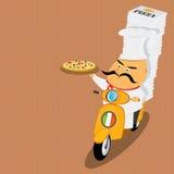 Lustiger italienischer Chef, der Pizza auf Moped liefert Lizenzfreie Stockfotos