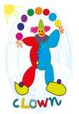 Lustiger jonglierender Clown Lizenzfreie Stockbilder