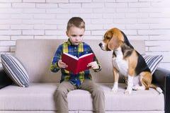 Lustiger Junge, der ein Buch mit einem Spürhund liest Stockbilder