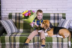 Lustiger Junge mit einem Blumenstrauß von Blumen und von Hundspürhund Stockbilder