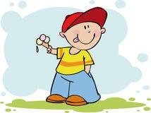 Lustiger Junge mit Eiscreme Stockbilder