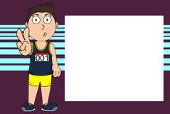 Lustiger junger Läuferkarikaturausdruck-Bilderrahmenhintergrund Stockfotos