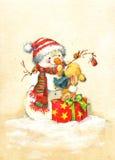 Lustiger Kaninchen Weihnachtsaquarell-Weinlesehintergrund Stockbilder