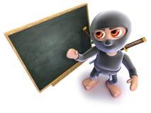 lustiger Karikatur 3d ninja Meuchelmörder, der an einer Tafel steht vektor abbildung