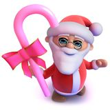 lustiger Karikatur 3d Vater Christmas, das etwas süße Süßigkeit hält Lizenzfreies Stockfoto