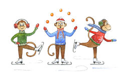 Lustiger Karikaturaffe auf Schlittschuhen Aquarellaffe und Dekorationselemente des neuen Jahres Maskottchenillustration der Weihn stockbild
