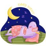 Lustiger Karikatureinhorncharakter, der auf dem Bett nachts, gute Nachtgestaltungselement für Karten, Postervektor schläft stock abbildung