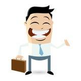 Lustiger Karikaturgeschäftsmann mit Koffer Stockfotos