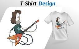 Lustiger Karikaturgitarrist, der heraus auf Stadium, T-Shirt Druck schaukelt Spott herauf T-Shirt Designschablone Rand der Farbba Stockfoto