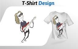 Lustiger Karikaturgitarrist, der heraus auf Stadium, T-Shirt Druck schaukelt Spott herauf T-Shirt Designschablone Rand der Farbba Lizenzfreie Stockfotos