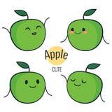 Lustiger Karikaturgrün-Apfelcharakter mit verschiedenen Gefühlen auf dem Gesicht Komische Emoticonaufkleber eingestellt Vektoriko Lizenzfreies Stockbild