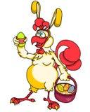 Lustiger Karikaturhahn in Form eines Osterhasen mit einem Korb von farbigen Eiern auf weißem Hintergrund Stockfotos
