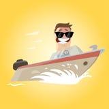 Lustiger Karikaturmann auf einer Yacht Stockbilder