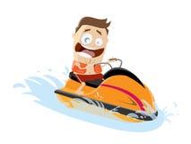 Lustiger Karikaturmann, der ein Jet-Boot reitet stock abbildung