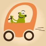 Lustiger Karikaturmann im Auto Stockbild