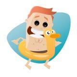 Lustiger Karikaturmann mit sich hin- und herbewegender Ente stock abbildung