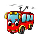 Lustiger Karikaturoberleitungsbus Lizenzfreie Stockfotografie