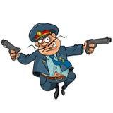 Lustiger Karikaturpolizist mit dem Gewehrlaufen Stockbild