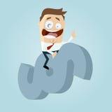 Lustiger Karikaturrechtsanwalt, der ein Paragraphzeichen reitet Lizenzfreies Stockfoto