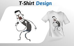 Lustiger Karikaturrocksänger mit mic, flacher T-Shirt Druck Spott herauf T-Shirt Designschablone Vektorschablone, an lokalisiert Stockfoto