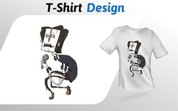 Lustiger Karikaturrocksänger mit mic, flacher T-Shirt Druck Spott herauf T-Shirt Designschablone Vektorschablone, an lokalisiert Stockbilder