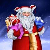Lustiger Karikaturrusse Santa Claus mit Geschenkpaketen Stockfotos