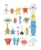 Lustiger Karikatursatz verschiedene Reinigungswerkzeuge Kawaii, das e säubert stockbilder
