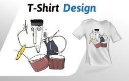 Lustiger Karikaturtrommelspieler, der heraus auf Stadium, flacher T-Shirt Druck schaukelt Spott herauf T-Shirt Designschablone Ra Lizenzfreie Stockfotografie
