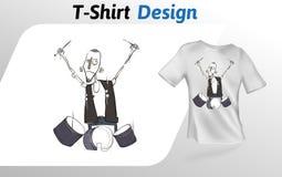 Lustiger Karikaturtrommelspieler, der heraus auf Stadium, flacher T-Shirt Druck schaukelt Spott herauf T-Shirt Designschablone Ra Lizenzfreie Stockbilder