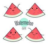 Lustiger Karikaturwassermelonencharakter mit verschiedenen Gefühlen auf dem Gesicht Komische Emoticonaufkleber eingestellt Vektor Lizenzfreies Stockfoto