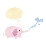 lustiger kleiner Elefant der Karikatur, der Wasser mit Gedanke bubbl spritzt Lizenzfreie Stockfotos