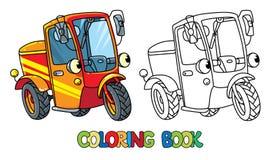 Lustiger kleiner Roller oder Auto mit Augen Malbuch Stockfoto