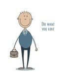 Lustiger lächelnder Mann in einer blauen Weste mit dem dünnen Haar und mit einem Aktenkoffer in seiner Hand Lizenzfreies Stockbild
