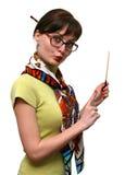 Lustiger Lehrer mit einer Nadelanzeige Lizenzfreie Stockbilder